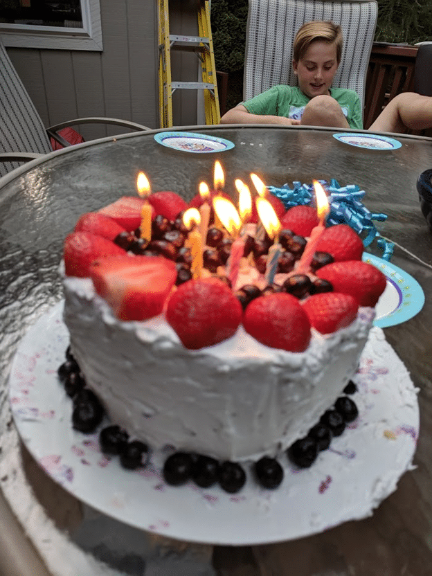 Watermelon birthday cake with coconut icing