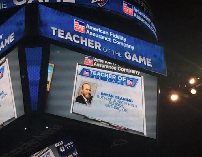 OKC Thunder honors Guthrie teacher on Christmas Day