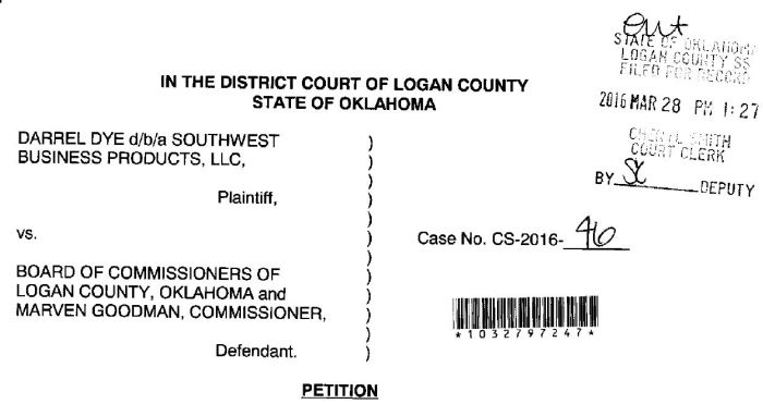 Ponca City company files suit against Logan County, commissioner