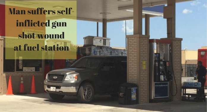 Man suffers self-inflicted gun shot wound at fuel station