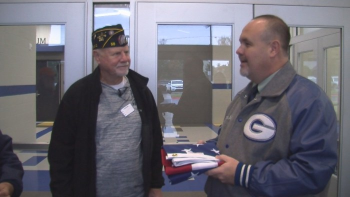 Watch: American Legion donates flag to Charter Oak Elementary School