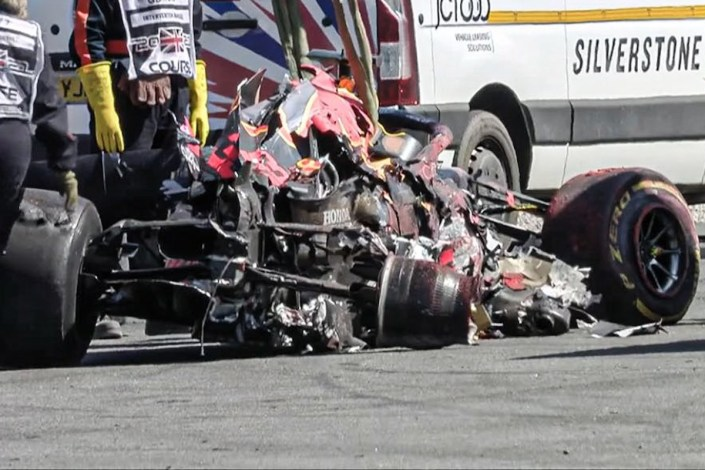 Max Verstappen crash 1st lap British Grand Prix…