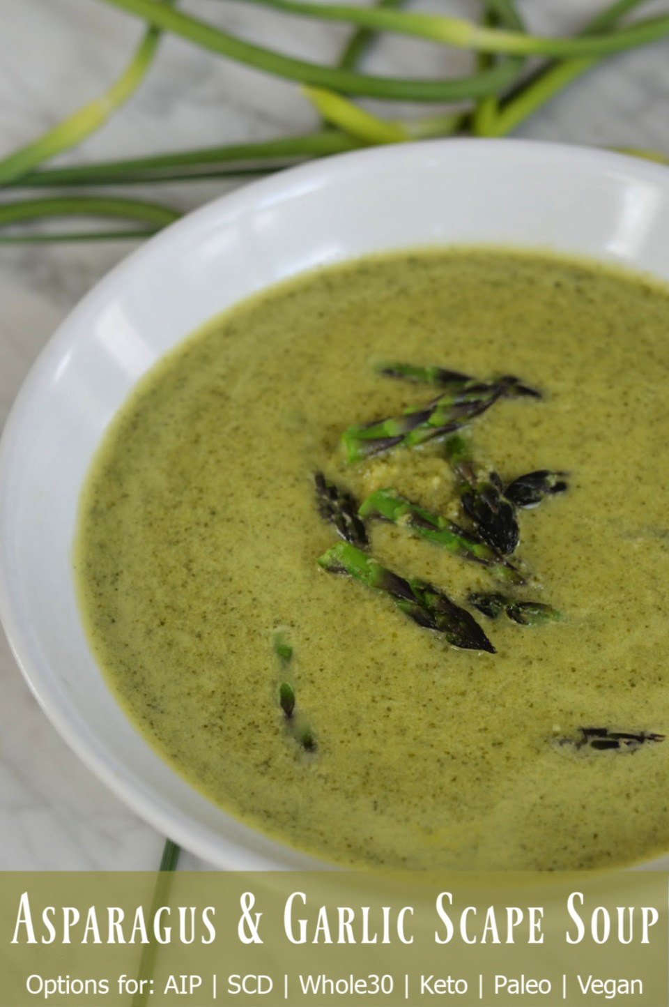 asparagus and garlic scape soup