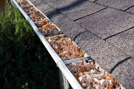 Gutter filled with leaves ready for cleaning