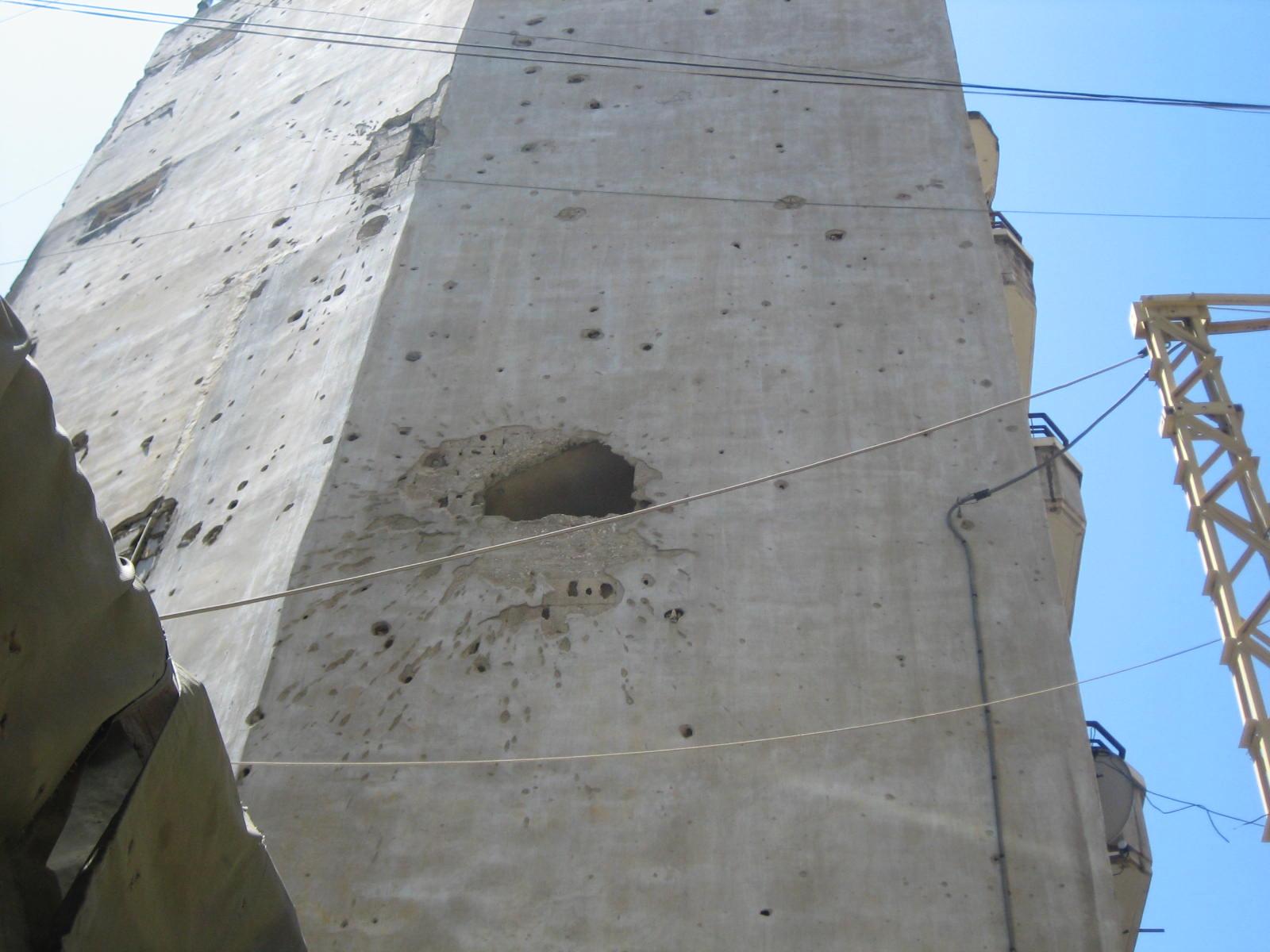 A building still bearing the scars of Lebanon's 1975-1990 Civil War