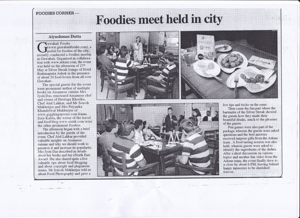 Guwahati Foodie in The Sentinal