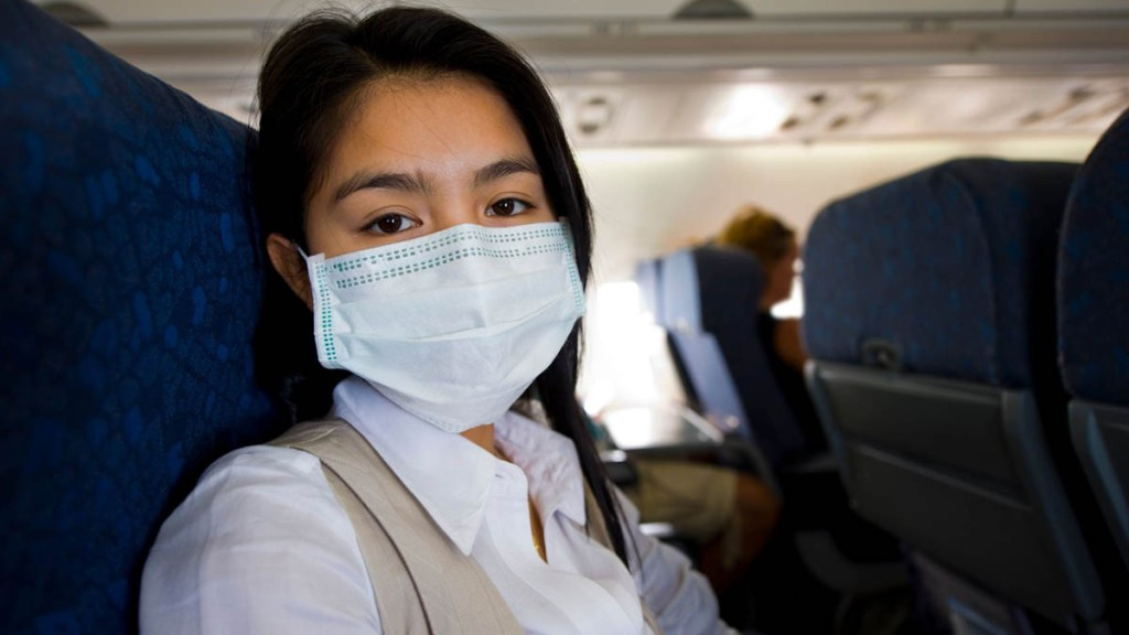 face mask on an airplane