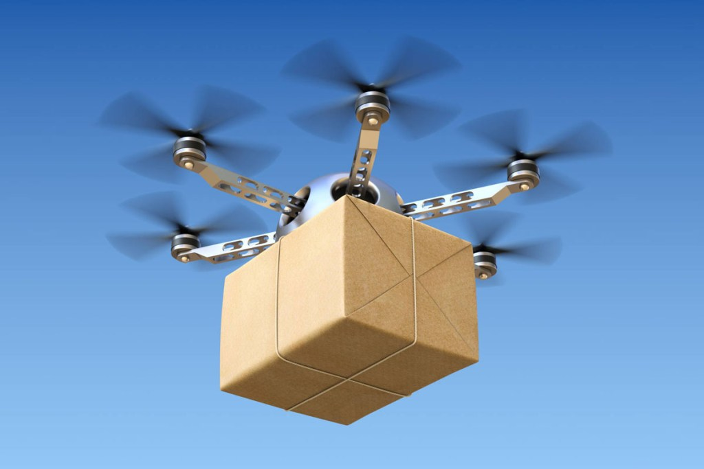 A drone in flight delivering a package
