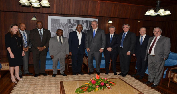 From left: Ms. Kimberly Brasington, Senior Director, Public and Government Affairs, ExxonMobil; Minister of Natural Resources, Mr. Raphael Trotman; Minister of State, Mr. Joseph Harmon; Minister of Foreign Affairs, Mr. Carl Greenidge; President David Granger; Mr. Stephen Greenlee, President of ExxonMobil; Mr. Michael Cousins, Exploration Executive Vice President; Mr. Erik Oswald, Exploration Vice President; Ambassador (Ret'd) Craig Kelly, Senior Director for the Americas- International Government Relations; and Mr. Jeff Simons, Country Manager, Esso Guyana, at the close of this morning's meeting