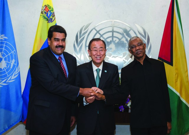 Venezuela's President Nicolás Maduro along with President David Granger pictured with outgoing United Nation's Secretary-General Ban Ki-moon