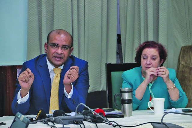 Leader of the Opposition Bharrat Jagdeo and Opposition Chief Whip Gail Teixeira during a press conference on Thursday