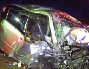 One of the cars involed in the recent fatal accident on the Linden Highway