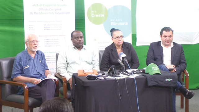 From left: Public Relations consultant Kit Nascimento, Town Clerk Royston King, Mayor Patricia Chase Green and Head of Smart City Solutions Amir Oren during the press briefing at National Communications Network obn Friday