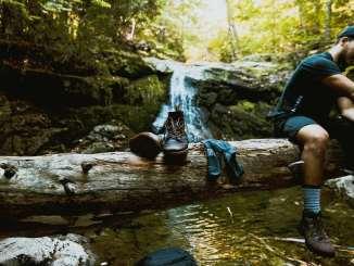 man sitting on log