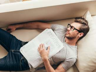 man sleeping couch