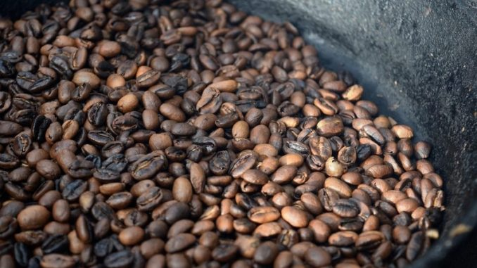 Second crack coffee beans from roasting at home in skillet