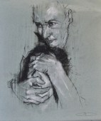 """Hayek versus Keynes"", conte and chalk on paper, 26 x 30 cm, 2011"