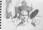 """Luke in Times Square"", pencil on paper, 15 x 21 cm, 2011"