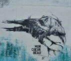 Another wall in Brest and another crow. Half drawn and half sprayed.