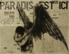 """Paradis est ici (21)"", conte, chalk and aerosol on newsprint, 69 x 56 cm, 2015"