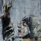 """Arab Spring, Bahrain Winter"", oil on board, 14 x 14cm"