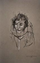 'occupy Portland still', conte and pastel on paper, 50 x 33cm