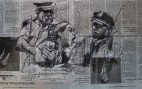 'occupy Wall Street (Officer Bologna's enthusiasm)', conte and pastel on newsprint, 44 x 28cm