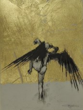 'William saw angels 13', conte and gold-leaf on paper, 25 x 30 cm
