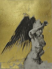 'William saw angels 7', conte and gold-leaf on paper, 25 x 30 cm