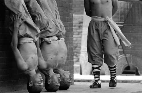 Shaolin monks standing on their heads