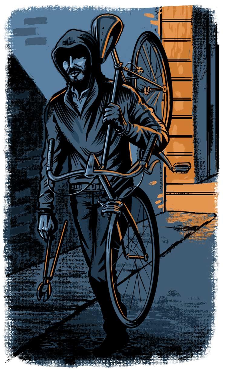 Illustration of bike theif