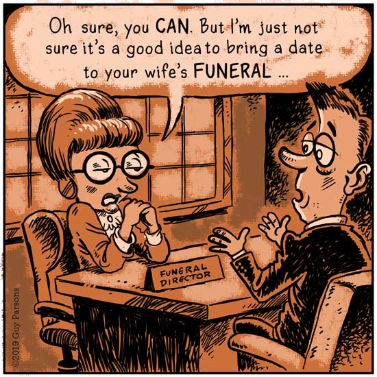 funeral and dating gag cartoon