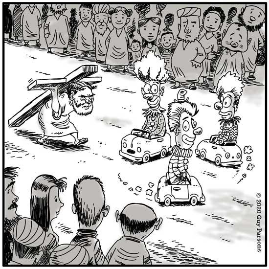 Jesus parade cartoon