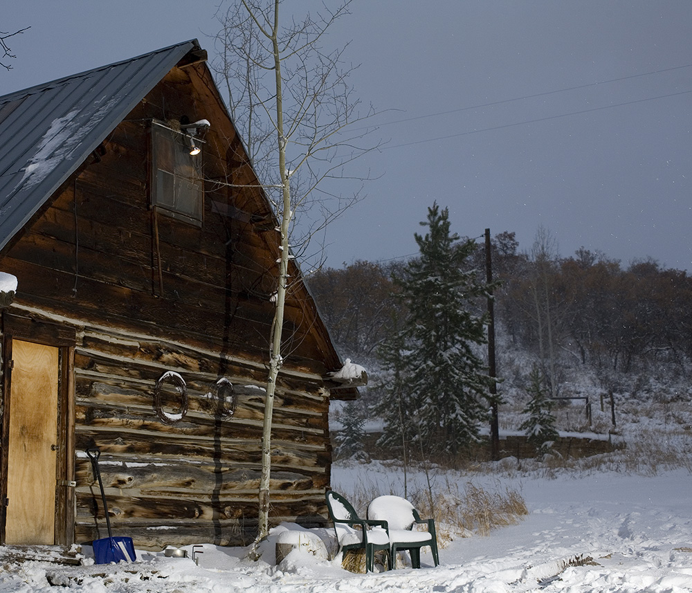 Colorado cabin, Snow storm, Guy Sagi