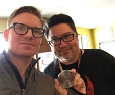 """Robert Perez, of South Texas Underground Film Festival with """"Guys Reading Poems"""" director Hunter Lee Hughes"""