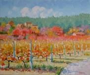 Vignes en Cévennes. 65X54 cm