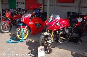 The First and Last. This photo taken at Broadford in 2016 captures history. On the left is Barry Jones' Magni Daytona which houses one of the very first Daytona engines. Ted Stolarski campaigned the motorcycle from 1990 here and overseas. Beside it is one of the last factory racing Guzzi's using the Daytona Engine and was built in 2007. Its a 1225cc MGS01. Both make similar horsepower.