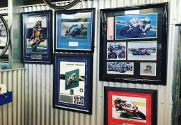 I'm at racing my Guzzi RaceCo 1288 Daytona. I'm excited to be sharing the track with 3 legends from my shed hero wall @troycorser11 @baylisstic21 @chrisvermeulen7