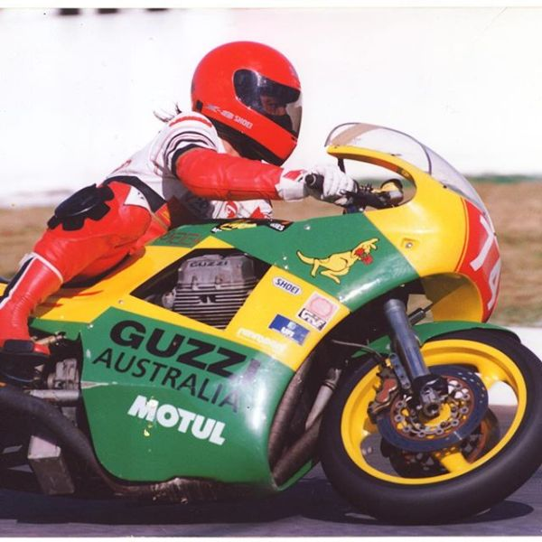 This is the first Magni Australia. Built by Australian Guzzi importer Ted Stolarski with help from Arturo Magni and the Guzzi Factory. This bike was first raced in 1990. It must have had one of the very first 4V engines from the Guzzi Factory. Magni later released the Magni Australia paying homage to Teds Race Bike. These photos were taken. In 1993 at the iconic Mount Panorama Racing Circuit in my home town of Bathurst Australia. This bike still lives in Australia and is regularly ridden. The Pilot in these shots is Wayne Gow. A well known Aussie racer that is still competing in classic racing on a V7 sport (1972). Wayne is known for his competitive nature and his versatility. This year at the International festival of Speed I saw him step off his Guzzi and straight onto a TZ 750 that someone asked him to race. How does one adjust his head to make that leap? #guzziracer #magni #motoguzzi #mountpanorama #motorcycleracing #classicbike