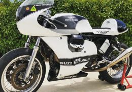 Guzzi Motobox Classic Endurance Racer. I just acquired this machine after many years of patient asking. This bike was very successful in the FIM Europe Endurance Classic Cup. In the short term I have no plans to race it. My first job is to return it to the original race spec.