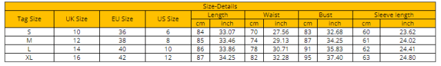 Size Chart of GVN Rocks Women Knitted Long Sleeve Christmas Bodycon