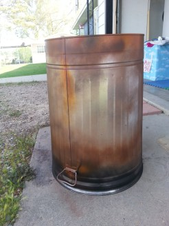 Our fiery trashcan donated by Home Depot and painted to look used by Director, Julie Mamo.