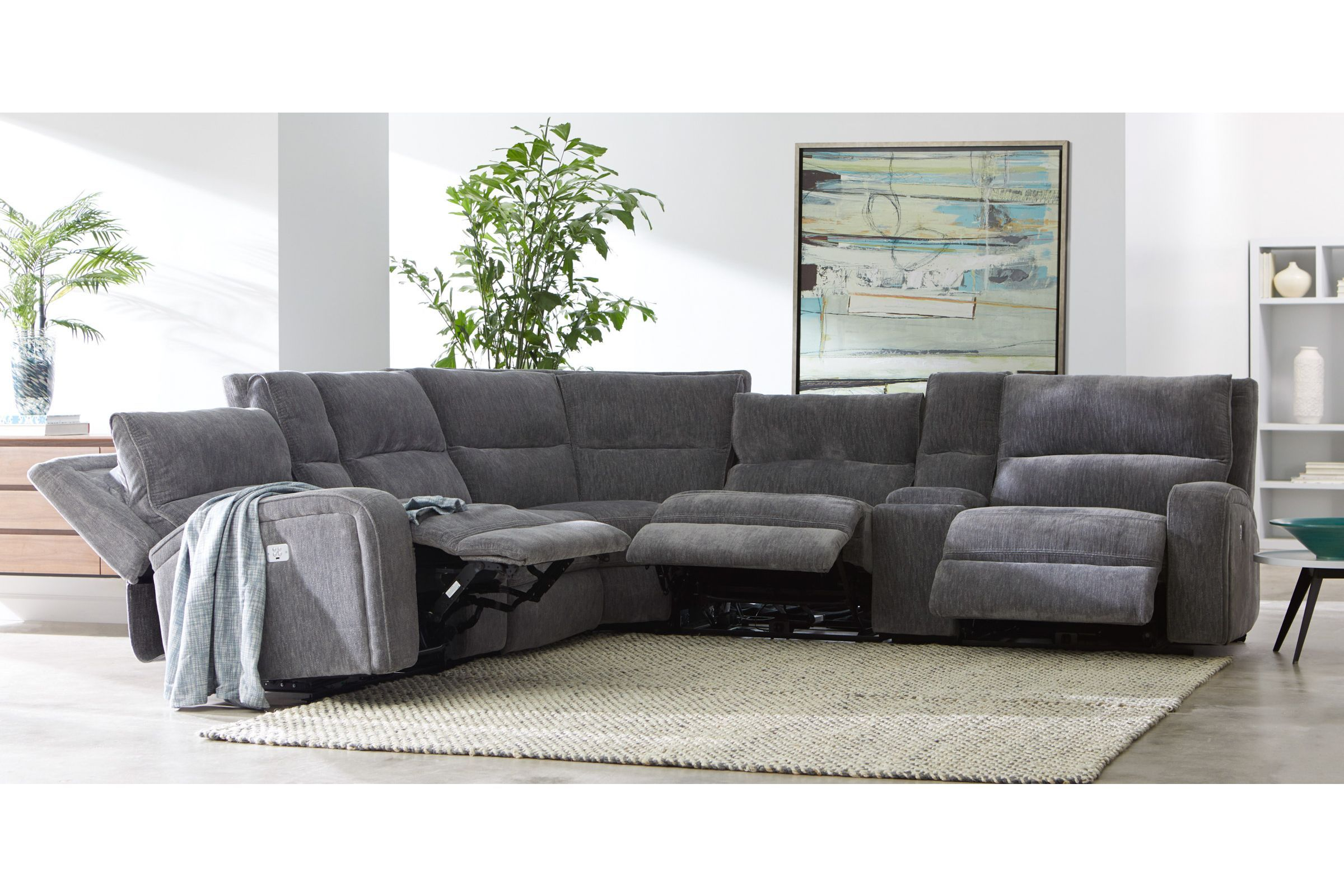 bentley 6 piece chenille sectional with 3 power reclining seats