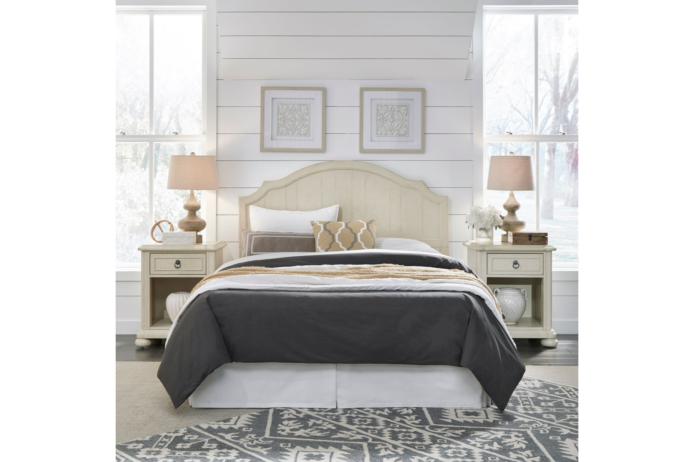 Provence Antiqued White Queen Headboard 2 Night Stands