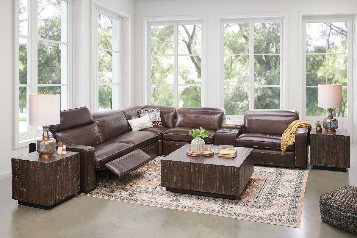 fontana 6 piece leather dual power reclining sectional