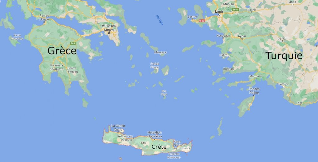 L'île grecque de la Crète, au large de la Turquie. Crédit : Google map.