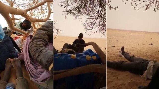 Captures d'écran de la vidéo envoyée par l'un de nos Observateurs, acheminé jusqu'à la frontière nigérienne, dans le désert. Crédit : DR