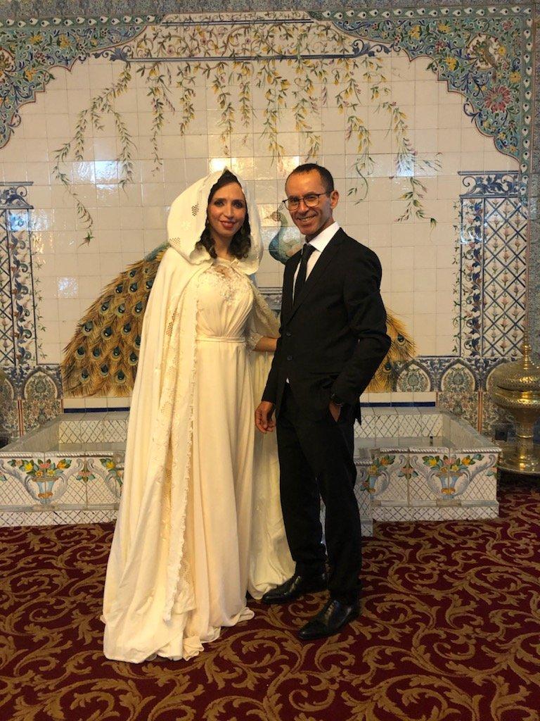 Mustapha Belhadj et sa femme, Imane, lors de leur mariage à Alger en avril 2019. Crédit : DR