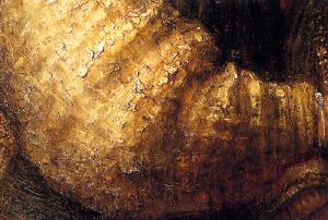Rembrandt, The Jewish bride (detail)