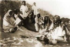 Coffee drinking in Arabian desert, 1904